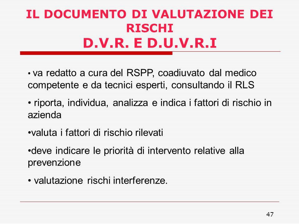 IL DOCUMENTO DI VALUTAZIONE DEI RISCHI D.V.R. E D.U.V.R.I