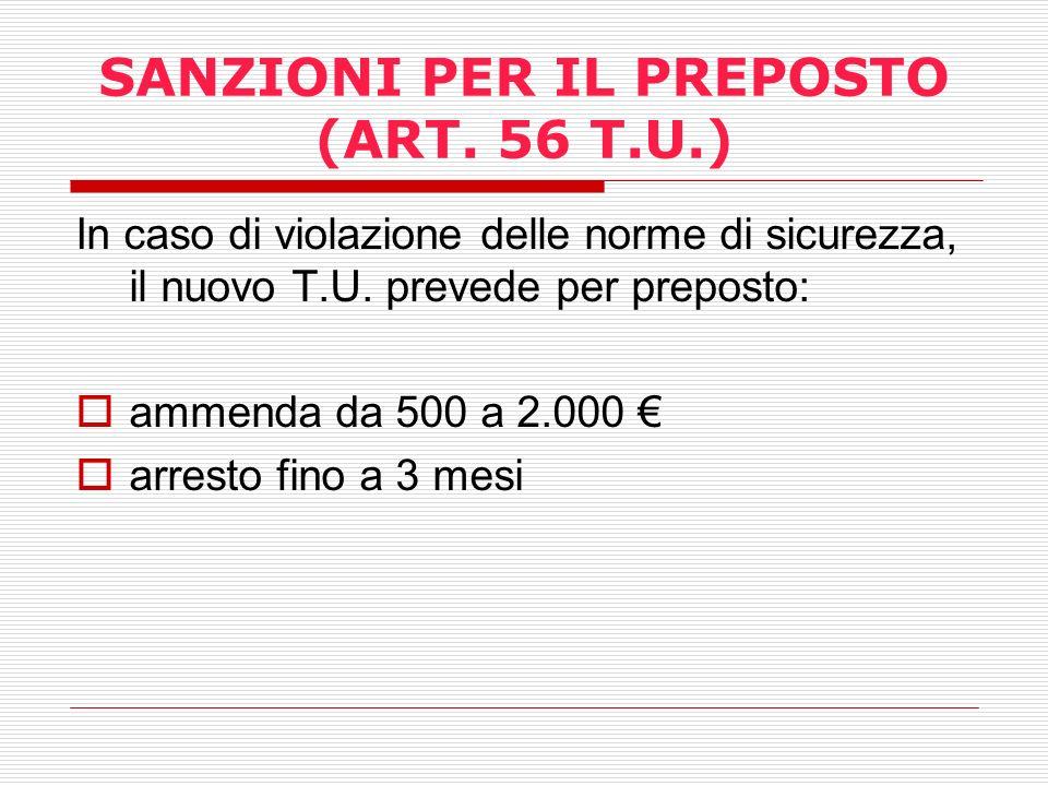 SANZIONI PER IL PREPOSTO (ART. 56 T.U.)