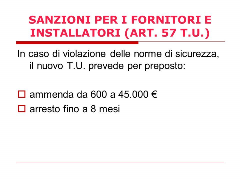 SANZIONI PER I FORNITORI E INSTALLATORI (ART. 57 T.U.)