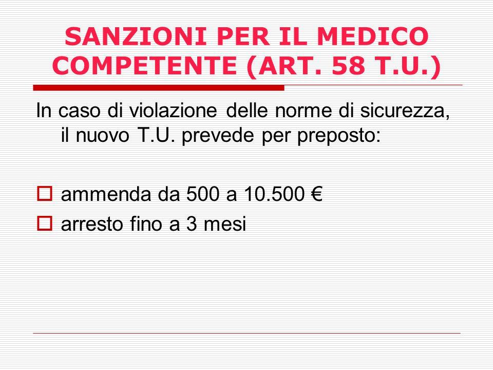 SANZIONI PER IL MEDICO COMPETENTE (ART. 58 T.U.)