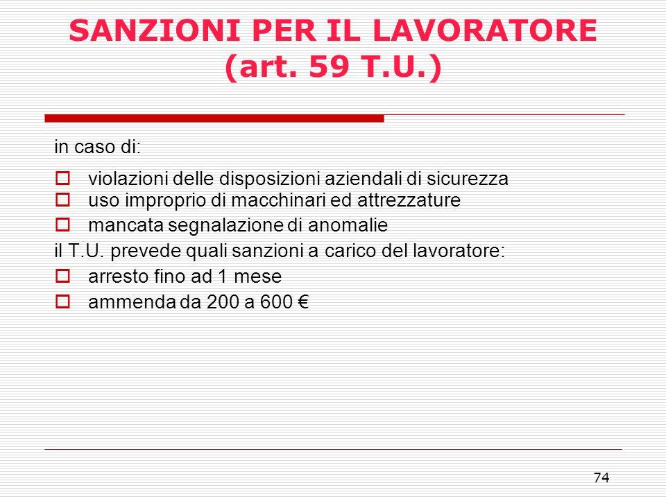 SANZIONI PER IL LAVORATORE (art. 59 T.U.)
