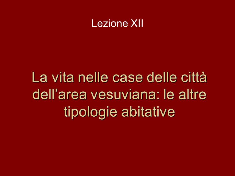 Lezione XII La vita nelle case delle città dell'area vesuviana: le altre tipologie abitative