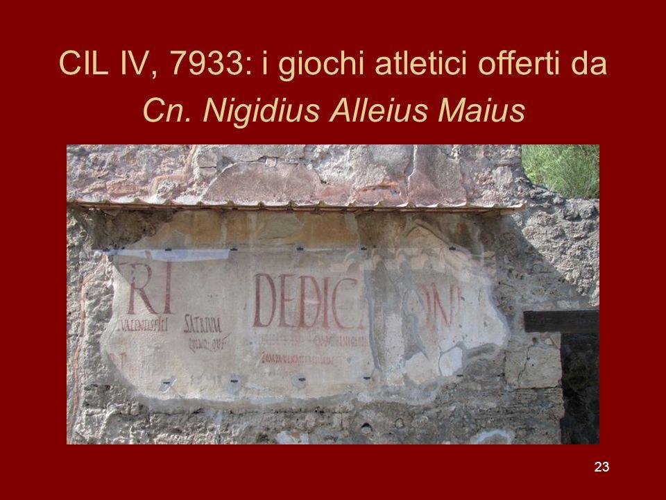CIL IV, 7933: i giochi atletici offerti da Cn. Nigidius Alleius Maius