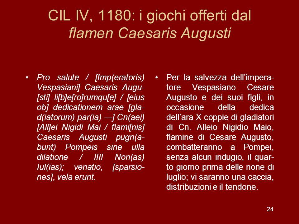 CIL IV, 1180: i giochi offerti dal flamen Caesaris Augusti