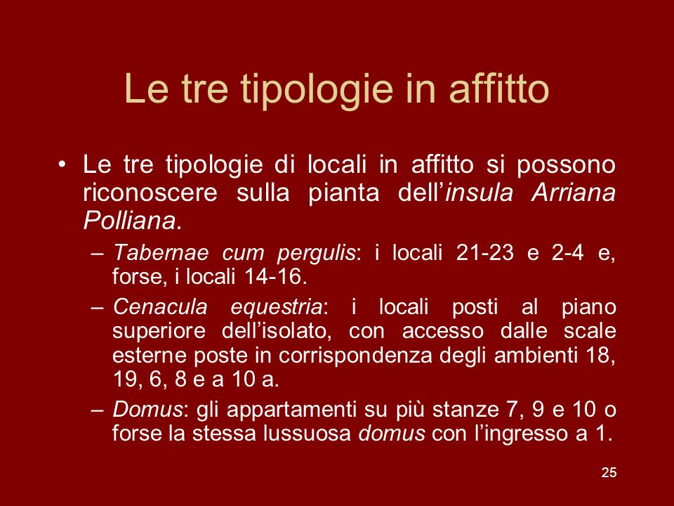 Le tre tipologie in affitto