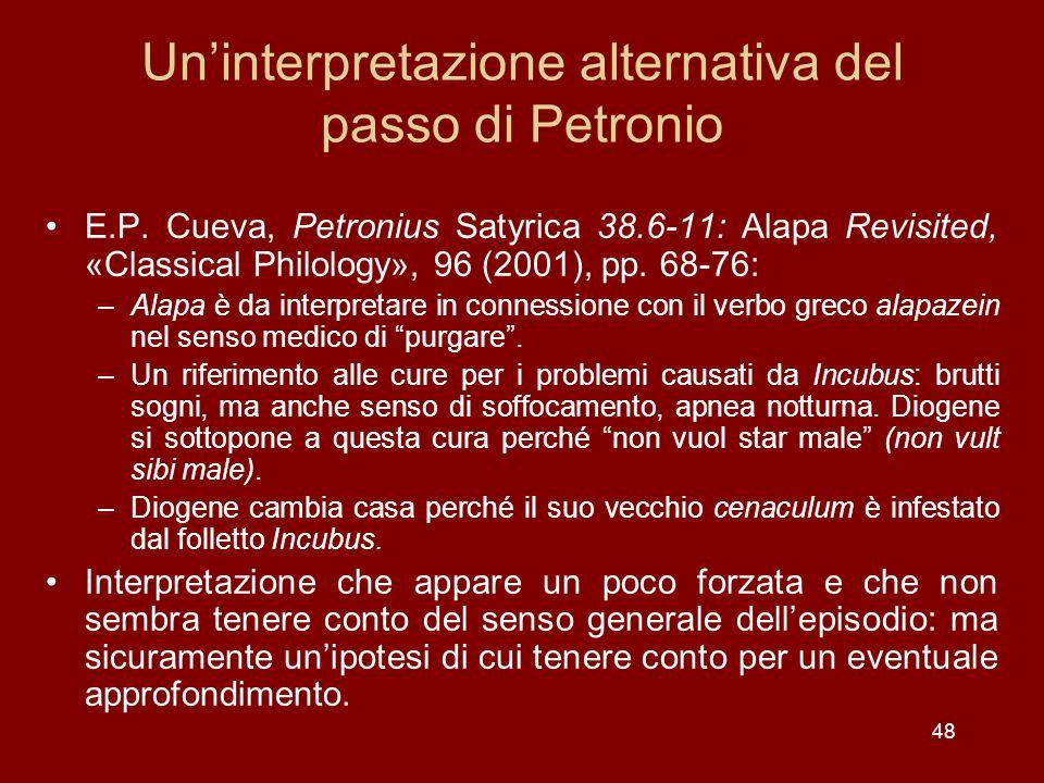 Un'interpretazione alternativa del passo di Petronio