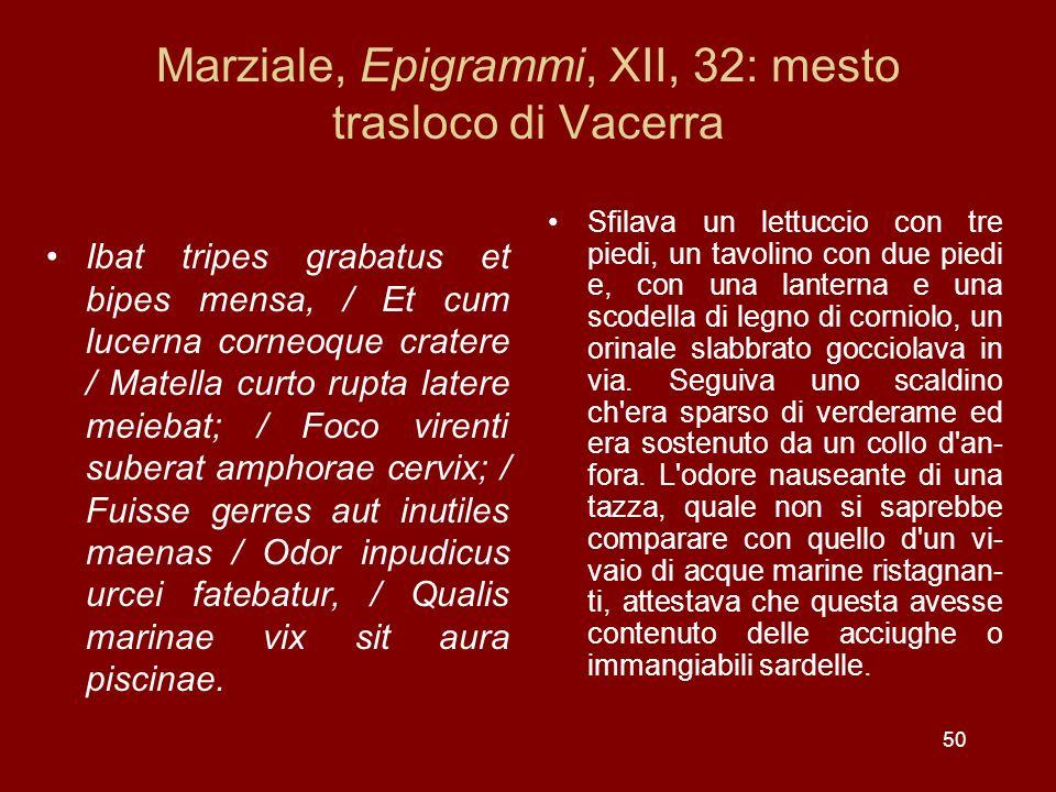 Marziale, Epigrammi, XII, 32: mesto trasloco di Vacerra