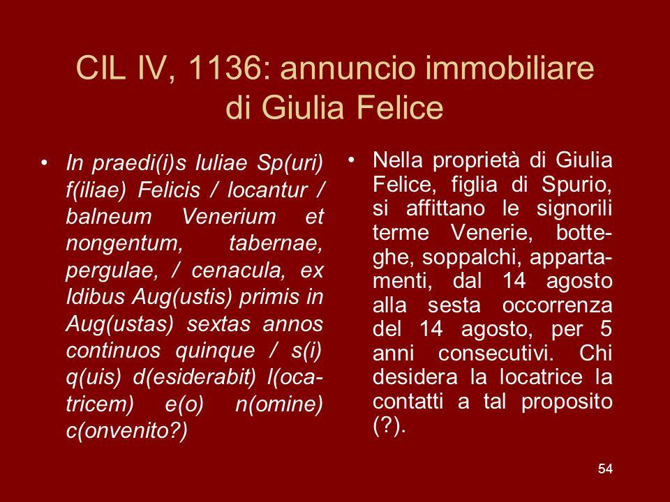 CIL IV, 1136: annuncio immobiliare di Giulia Felice