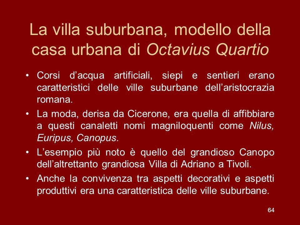 La villa suburbana, modello della casa urbana di Octavius Quartio