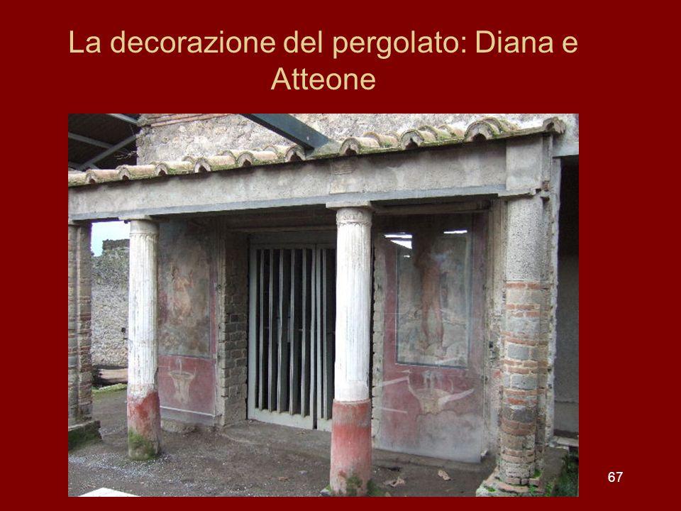 La decorazione del pergolato: Diana e Atteone
