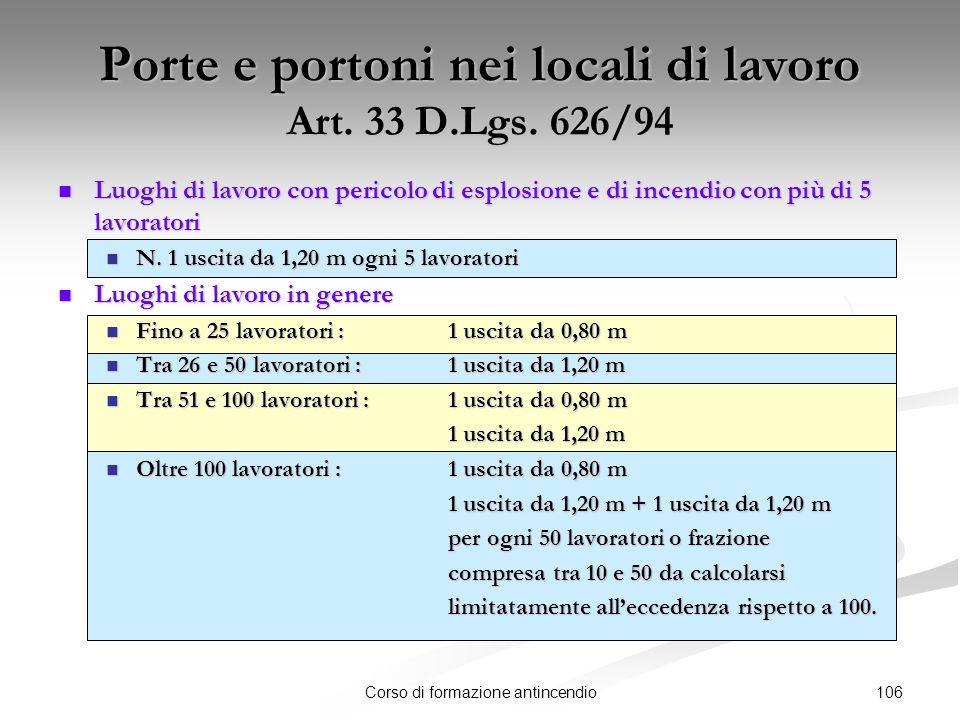 Porte e portoni nei locali di lavoro Art. 33 D.Lgs. 626/94