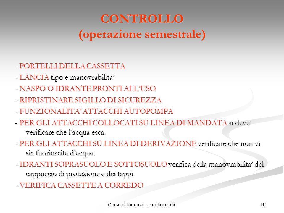 CONTROLLO (operazione semestrale)