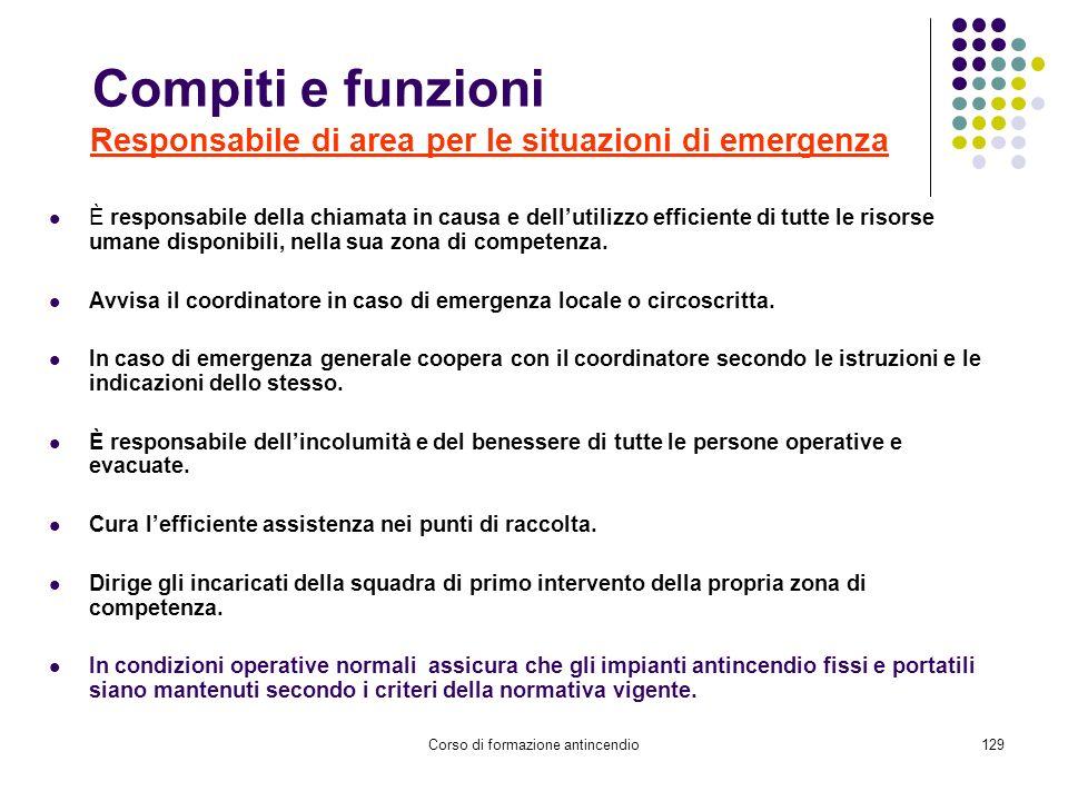 Compiti e funzioni Responsabile di area per le situazioni di emergenza