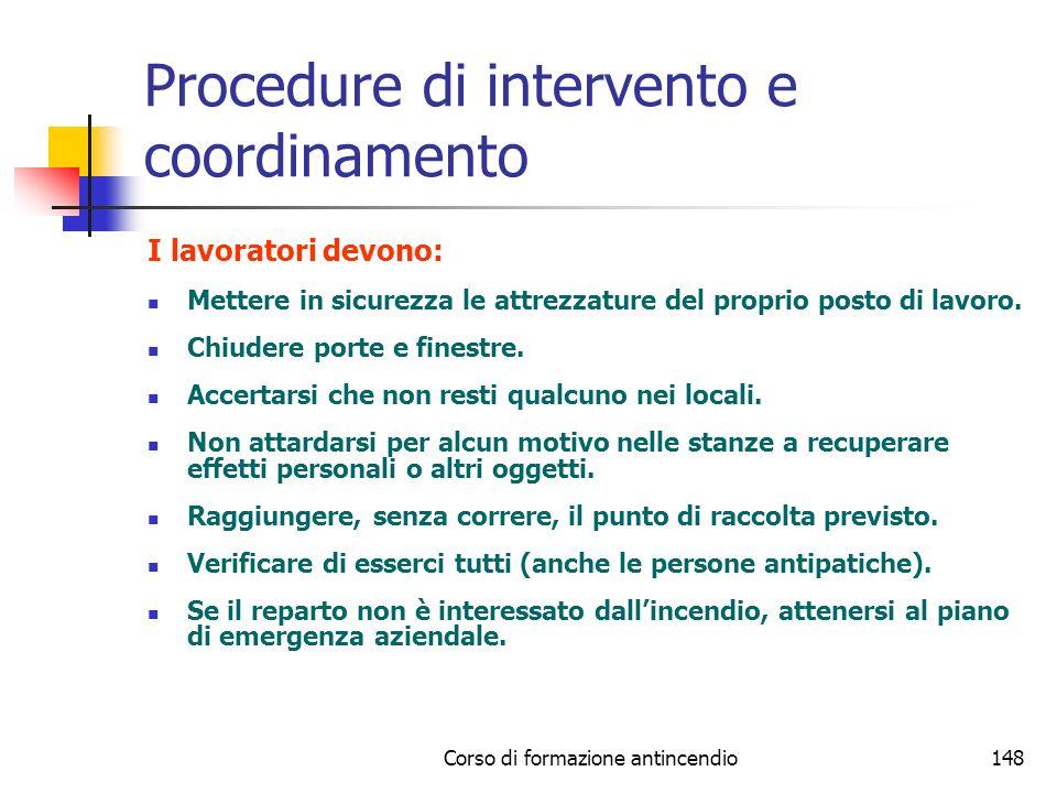 Procedure di intervento e coordinamento