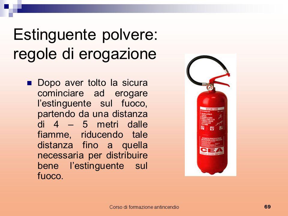 Estinguente polvere: regole di erogazione