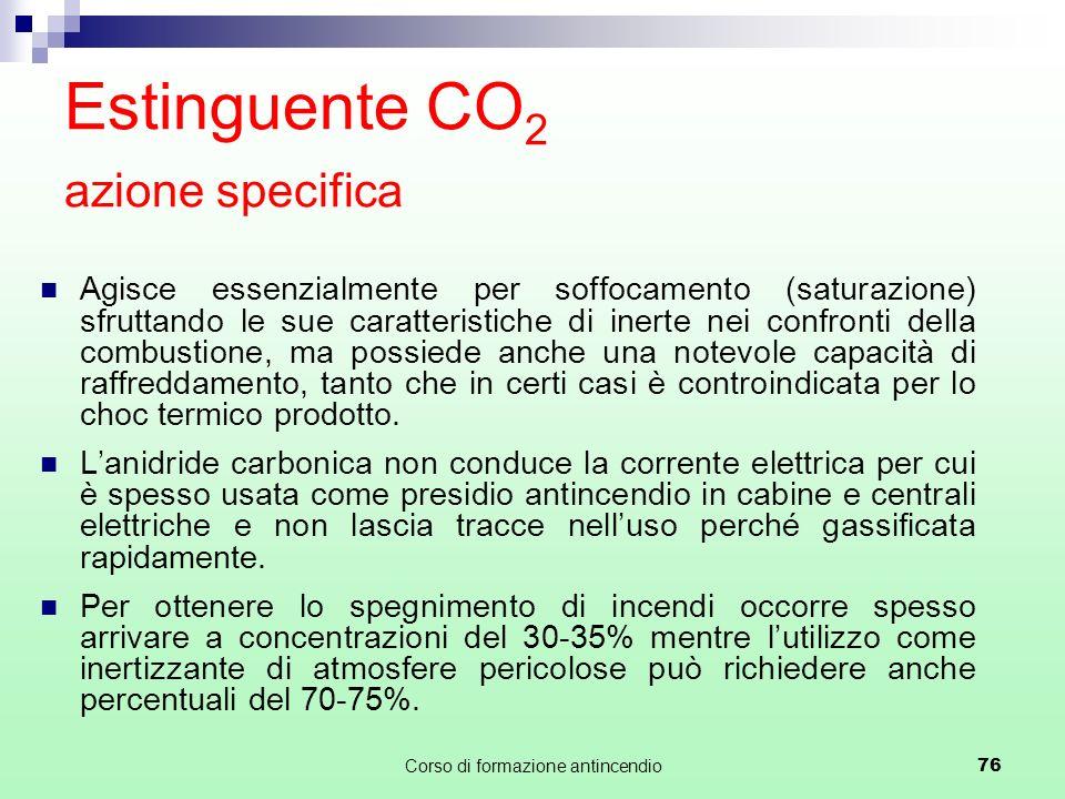 Estinguente CO2 azione specifica