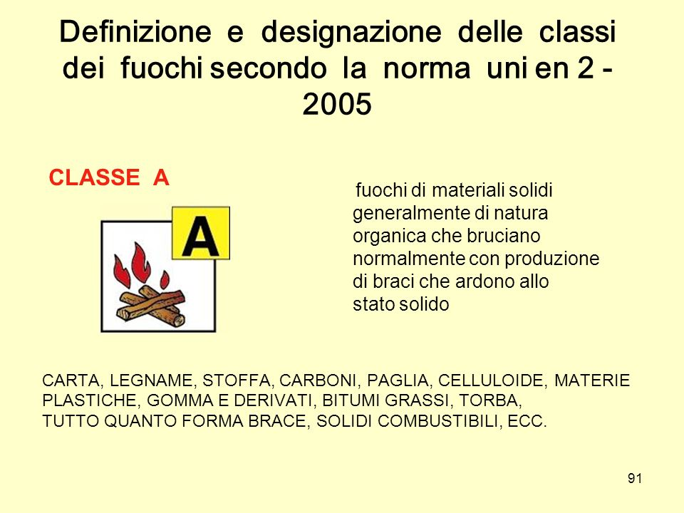 Definizione e designazione delle classi dei fuochi secondo la norma uni en 2 - 2005