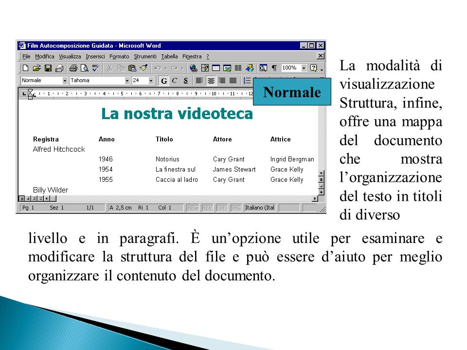 La modalità di visualizzazione Struttura, infine, offre una mappa del documento che mostra l'organizzazione del testo in titoli di diverso