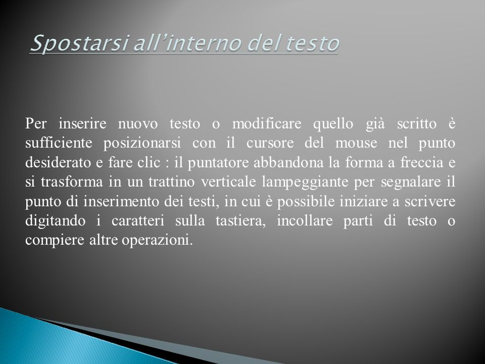 Spostarsi all'interno del testo