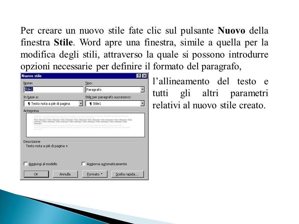 Per creare un nuovo stile fate clic sul pulsante Nuovo della finestra Stile. Word apre una finestra, simile a quella per la modifica degli stili, attraverso la quale si possono introdurre opzioni necessarie per definire il formato del paragrafo,