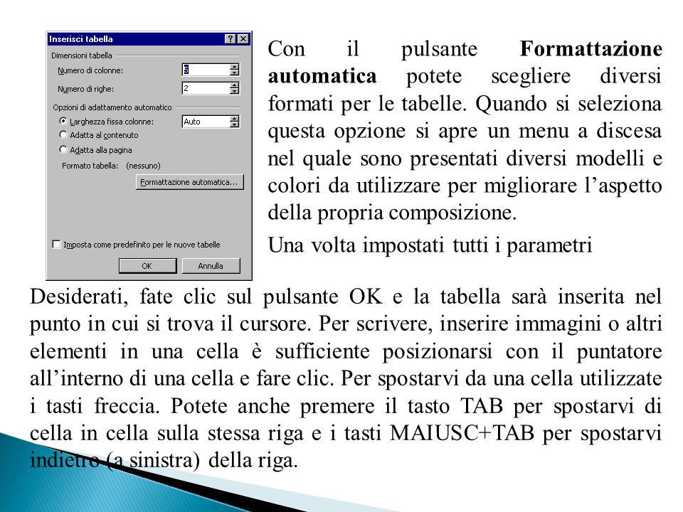 Con il pulsante Formattazione automatica potete scegliere diversi formati per le tabelle. Quando si seleziona questa opzione si apre un menu a discesa nel quale sono presentati diversi modelli e colori da utilizzare per migliorare l'aspetto della propria composizione.