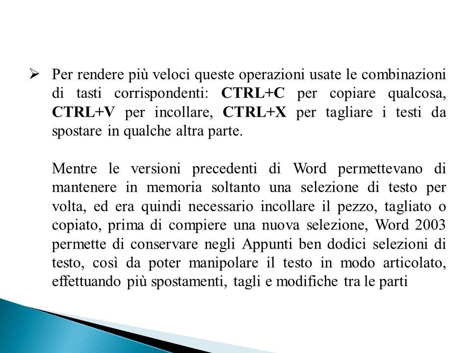 Per rendere più veloci queste operazioni usate le combinazioni di tasti corrispondenti: CTRL+C per copiare qualcosa, CTRL+V per incollare, CTRL+X per tagliare i testi da spostare in qualche altra parte.