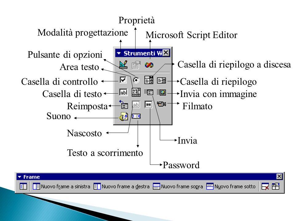 Proprietà Modalità progettazione. Microsoft Script Editor. Pulsante di opzioni. Casella di riepilogo a discesa.