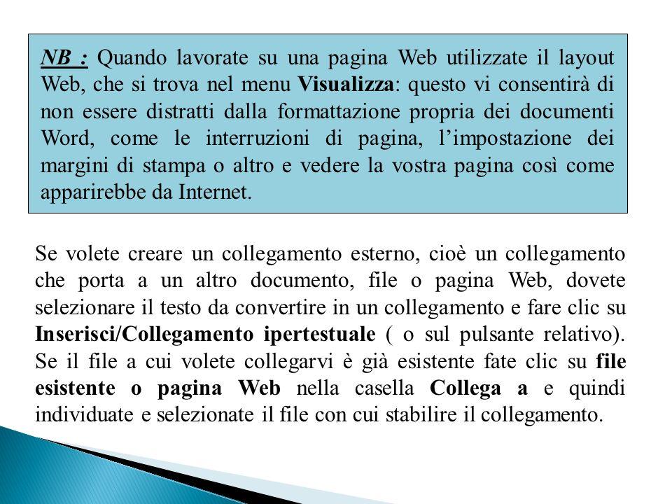 NB : Quando lavorate su una pagina Web utilizzate il layout Web, che si trova nel menu Visualizza: questo vi consentirà di non essere distratti dalla formattazione propria dei documenti Word, come le interruzioni di pagina, l'impostazione dei margini di stampa o altro e vedere la vostra pagina così come apparirebbe da Internet.