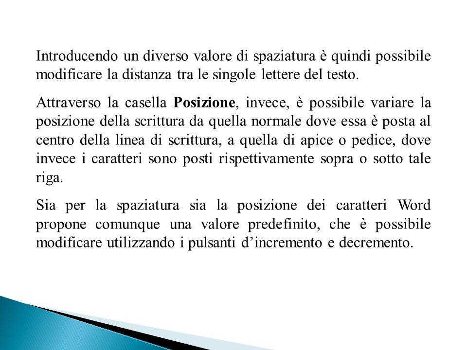 Introducendo un diverso valore di spaziatura è quindi possibile modificare la distanza tra le singole lettere del testo.