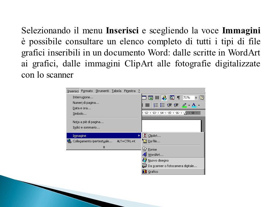 Selezionando il menu Inserisci e scegliendo la voce Immagini è possibile consultare un elenco completo di tutti i tipi di file grafici inseribili in un documento Word: dalle scritte in WordArt ai grafici, dalle immagini ClipArt alle fotografie digitalizzate con lo scanner