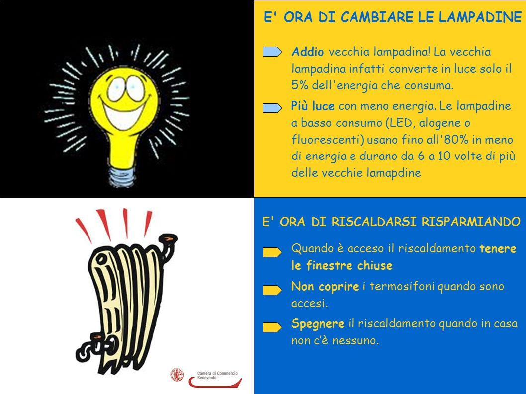 E ORA DI CAMBIARE LE LAMPADINE E ORA DI RISCALDARSI RISPARMIANDO