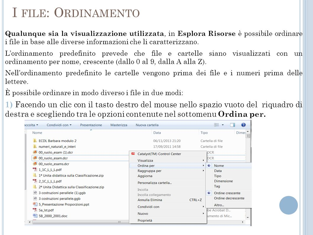 I file: Ordinamento