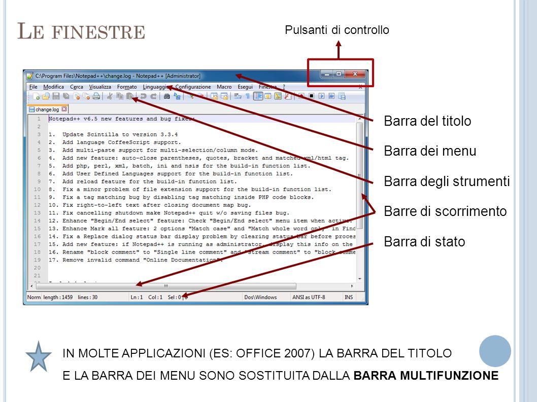 Le finestre Barra del titolo Barra dei menu Barra degli strumenti