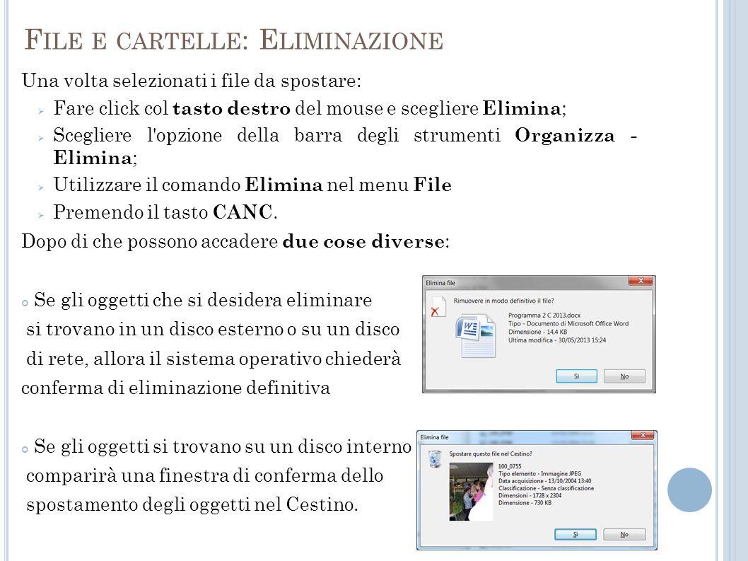 File e cartelle: Eliminazione