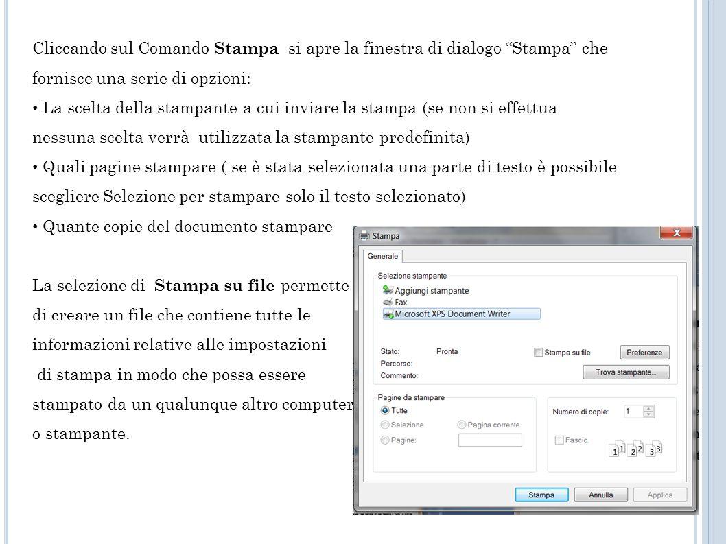 Cliccando sul Comando Stampa si apre la finestra di dialogo Stampa che fornisce una serie di opzioni: