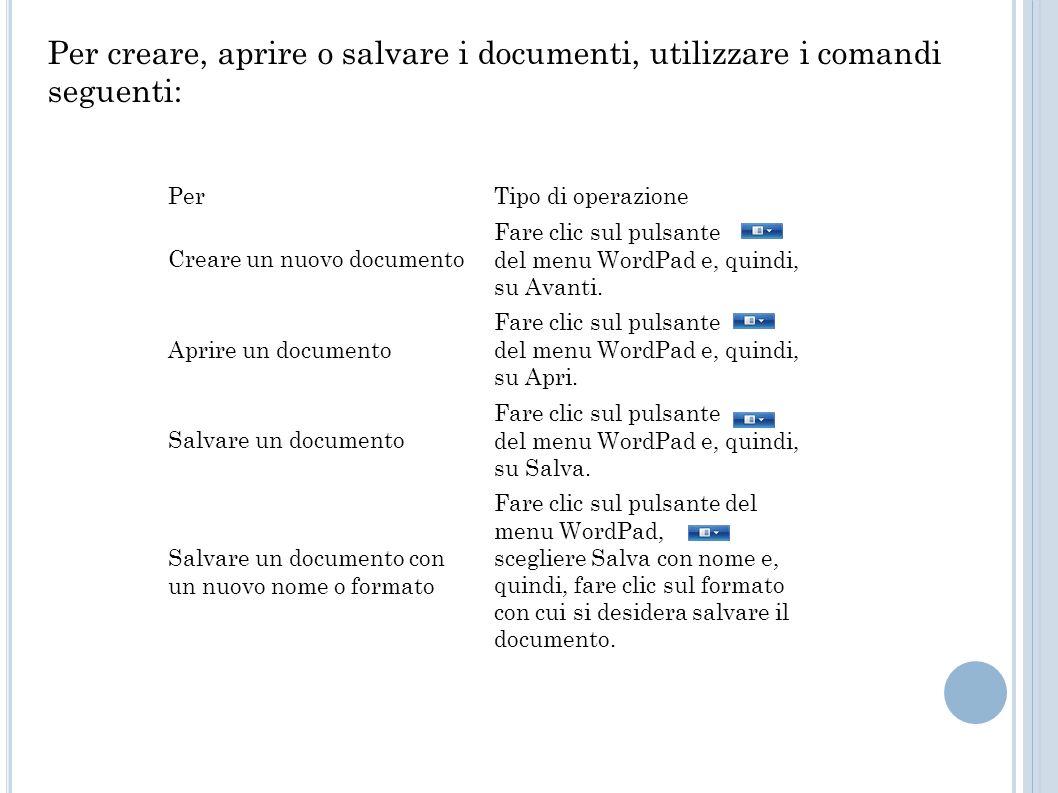 Per creare, aprire o salvare i documenti, utilizzare i comandi seguenti: