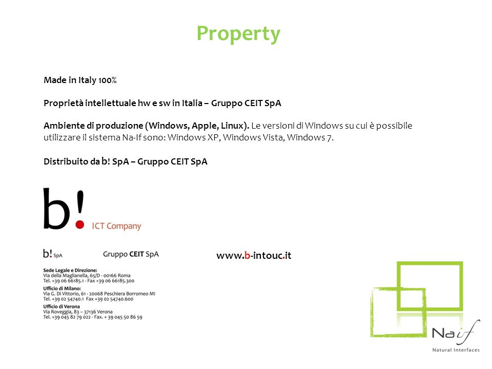 Property www.b-intouc.it Made in Italy 100%