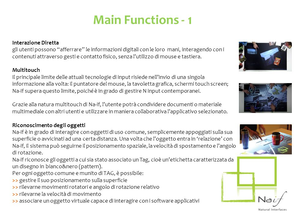 Main Functions - 1 Interazione Diretta
