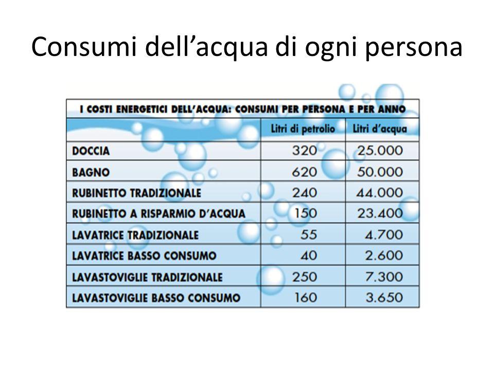 Consumi dell'acqua di ogni persona