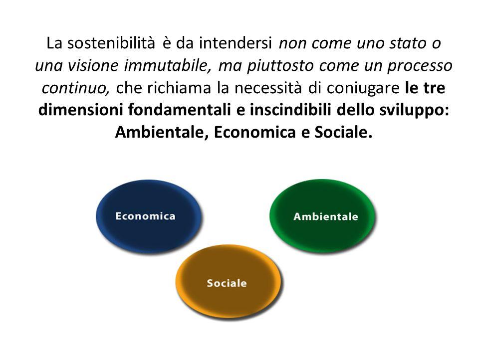 La sostenibilità è da intendersi non come uno stato o una visione immutabile, ma piuttosto come un processo continuo, che richiama la necessità di coniugare le tre dimensioni fondamentali e inscindibili dello sviluppo: Ambientale, Economica e Sociale.