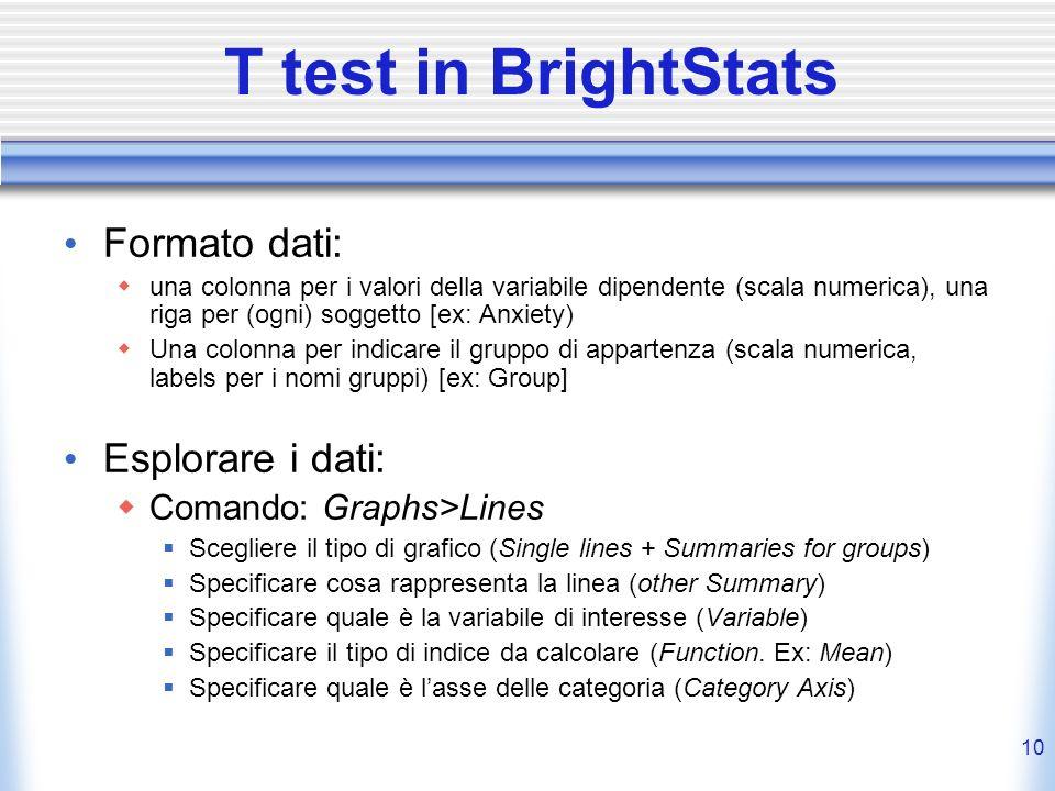 T test in BrightStats Formato dati: Esplorare i dati: