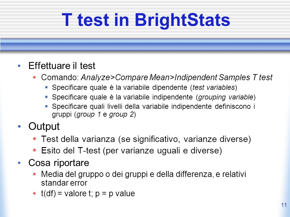 T test in BrightStats Output Effettuare il test Cosa riportare