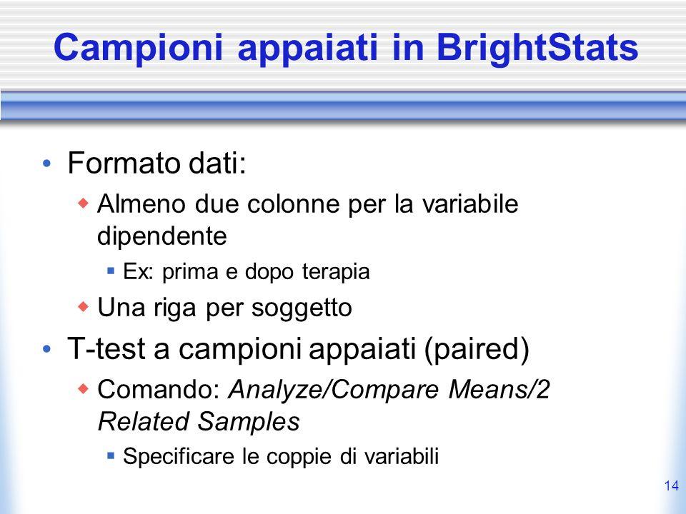 Campioni appaiati in BrightStats