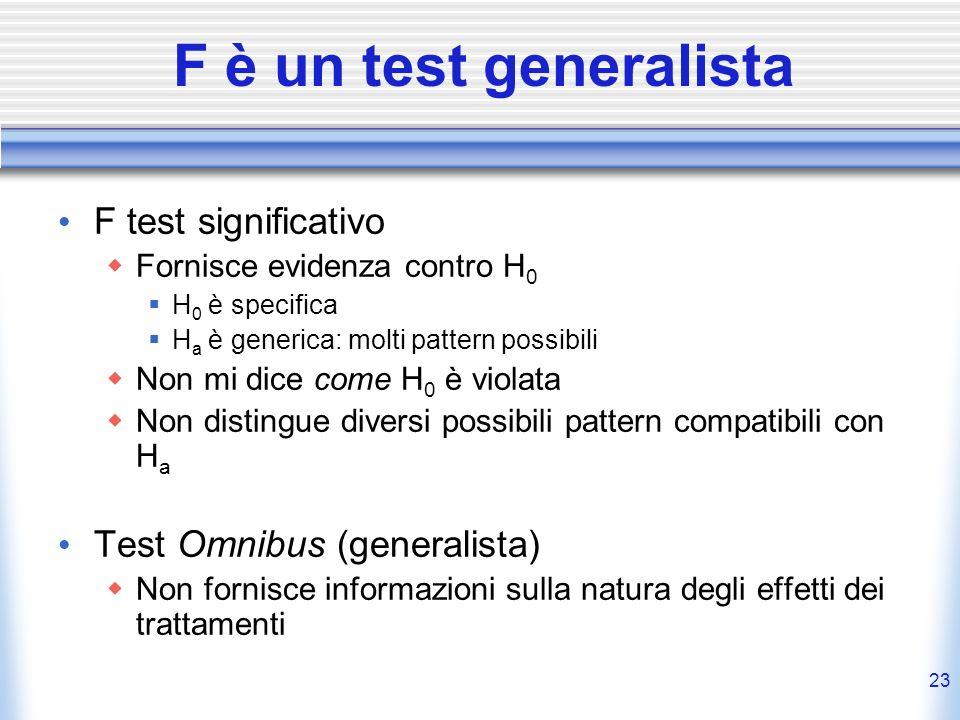 F è un test generalista F test significativo