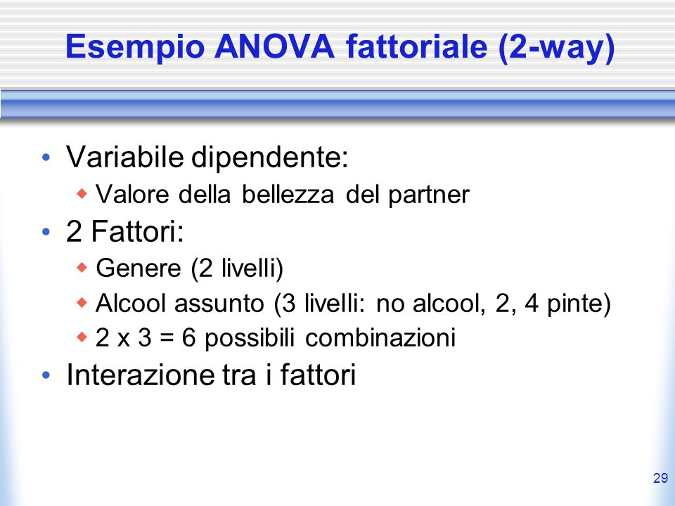Esempio ANOVA fattoriale (2-way)