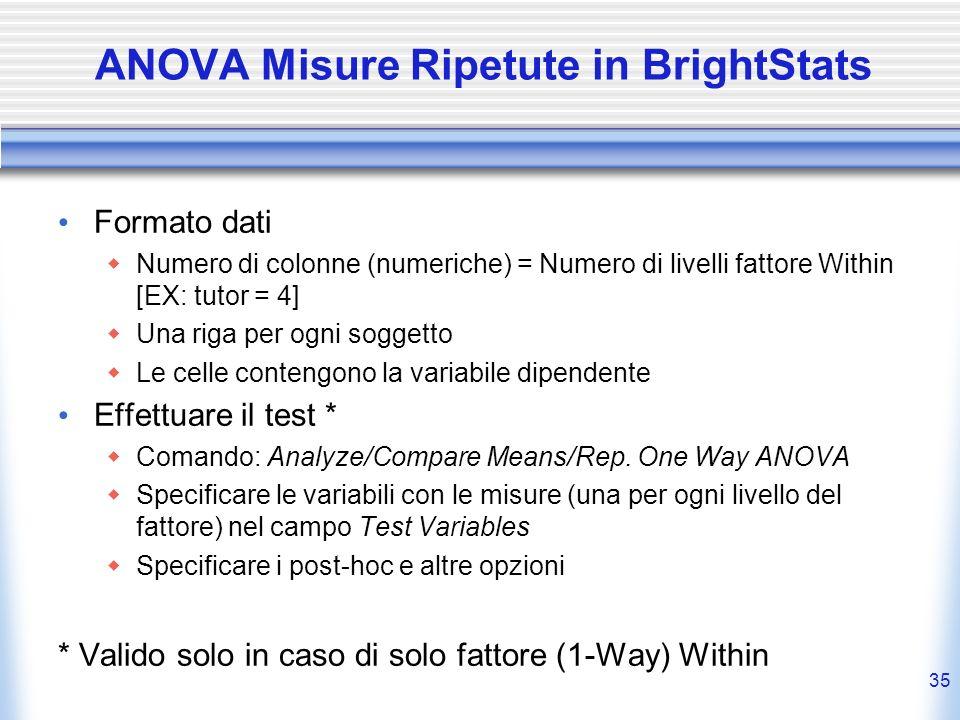 ANOVA Misure Ripetute in BrightStats