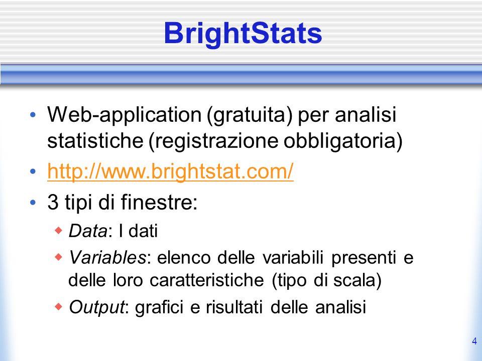 BrightStats Web-application (gratuita) per analisi statistiche (registrazione obbligatoria) http://www.brightstat.com/