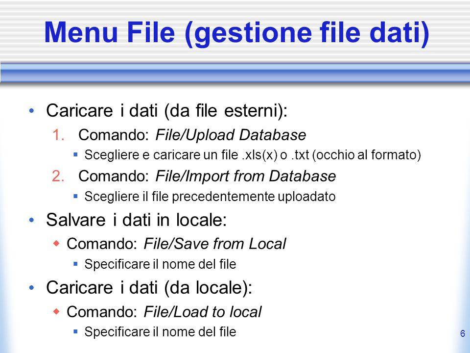Menu File (gestione file dati)