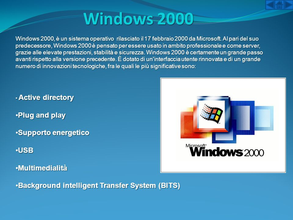 Windows 2000 Plug and play Supporto energetico USB Multimedialità