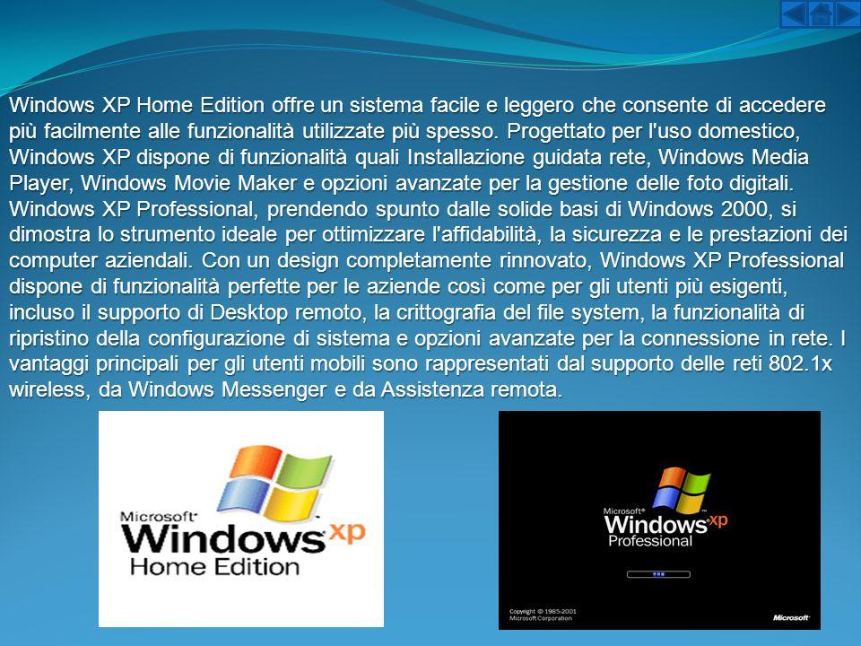 Windows XP Home Edition offre un sistema facile e leggero che consente di accedere più facilmente alle funzionalità utilizzate più spesso. Progettato per l uso domestico, Windows XP dispone di funzionalità quali Installazione guidata rete, Windows Media Player, Windows Movie Maker e opzioni avanzate per la gestione delle foto digitali.